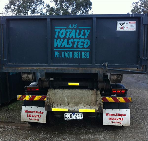 skip bin truck rear